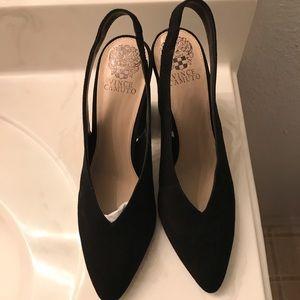 Black suede Vince Camuto Tashinta sling heels